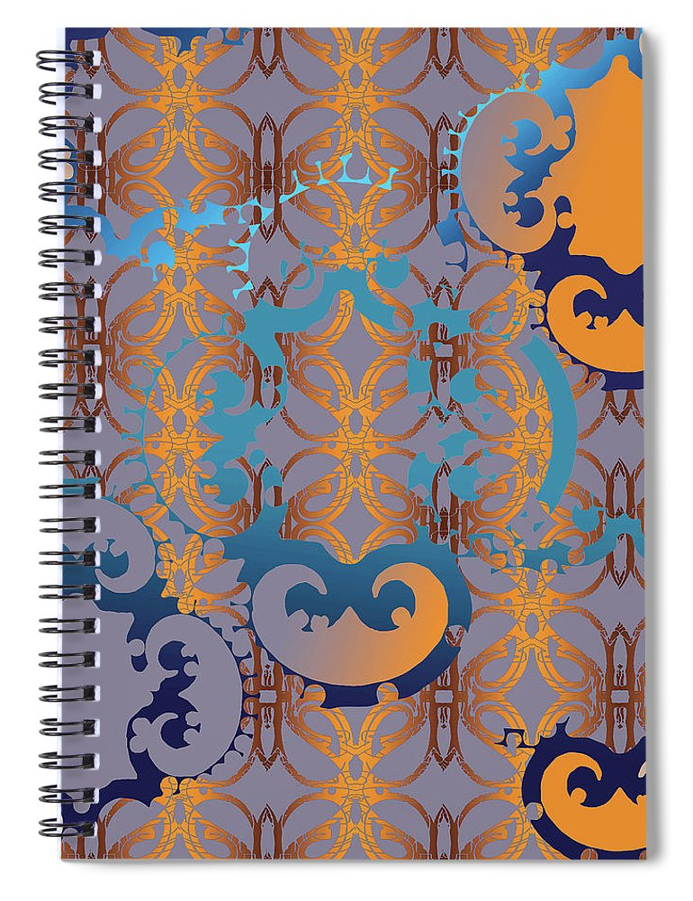 Blue And Gold Spiral Notebook featuring the digital art Doro Dallas by Ceil Diskin
