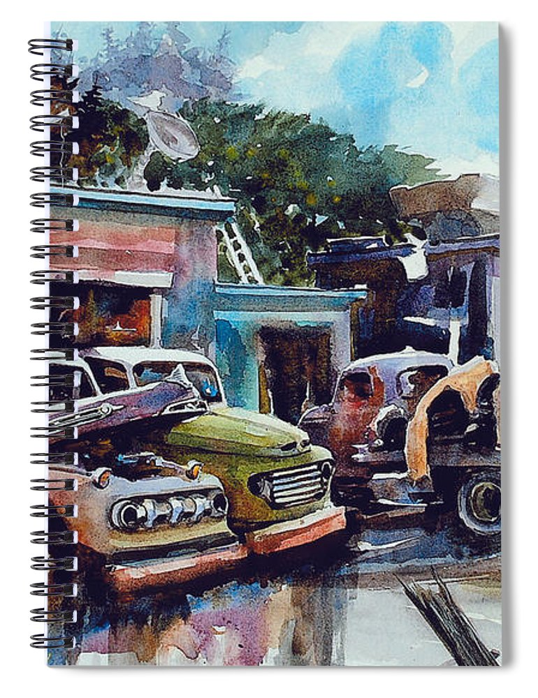 Trucks Spiral Notebook featuring the painting Down on the Lower Road by Ron Morrison