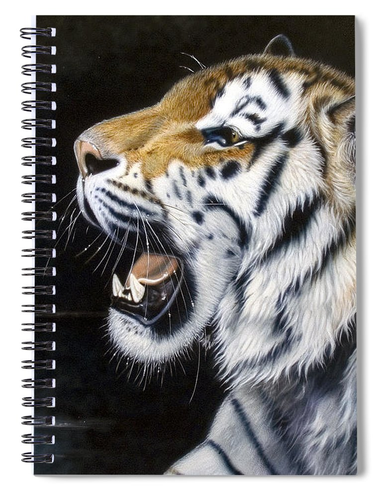 Tiger Spiral Notebook featuring the painting Dragonfly by Sandi Baker