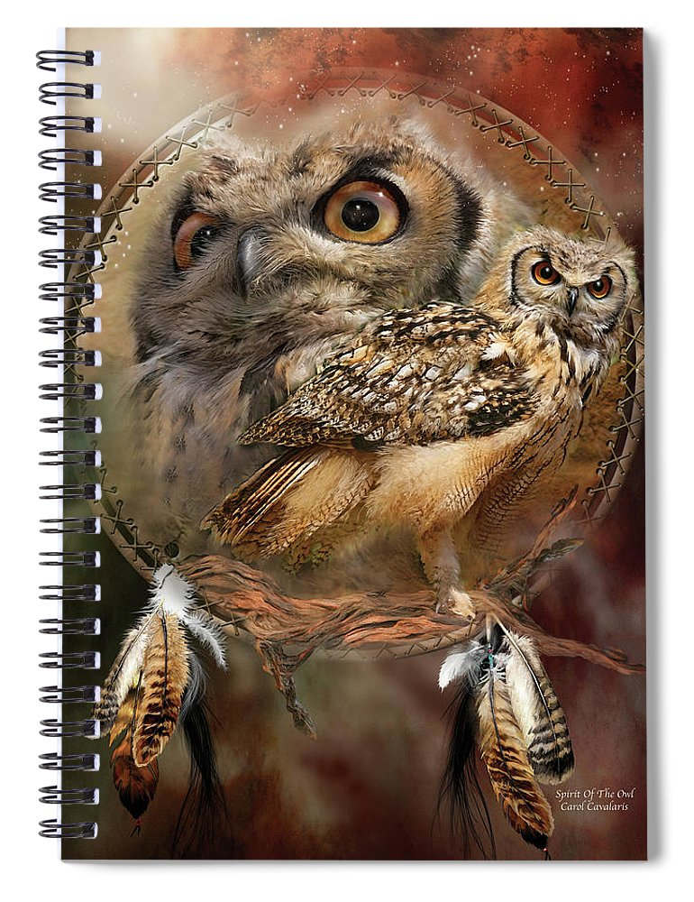 Carol Cavalaris Spiral Notebook featuring the mixed media Dream Catcher - Spirit Of The Owl by Carol Cavalaris