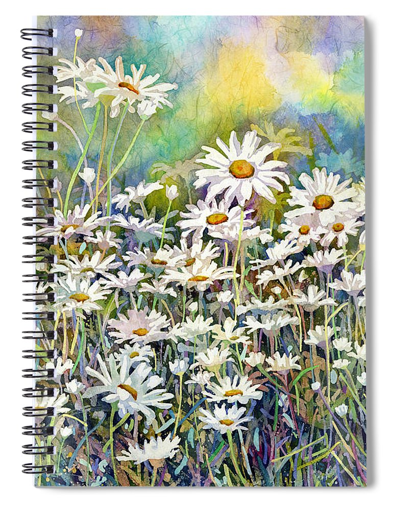Daisy Spiral Notebook featuring the painting Dreaming Daisies by Hailey E Herrera