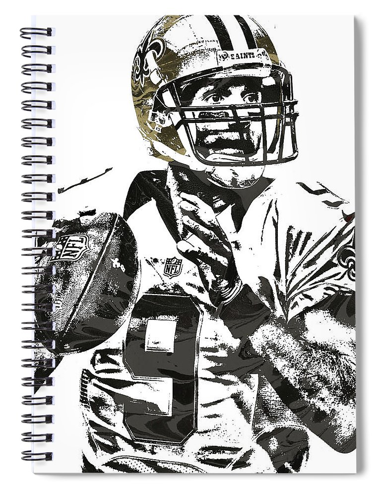 f6b2abc54 Drew Brees Spiral Notebook featuring the mixed media Drew Brees New Orleans  Saints Pixel Art 1