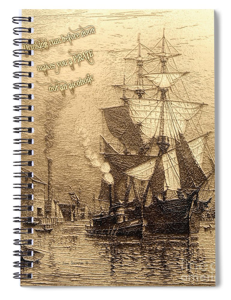 Rum Is The Reason Spiral Notebook featuring the photograph Drinking Rum Before Noon by John Stephens