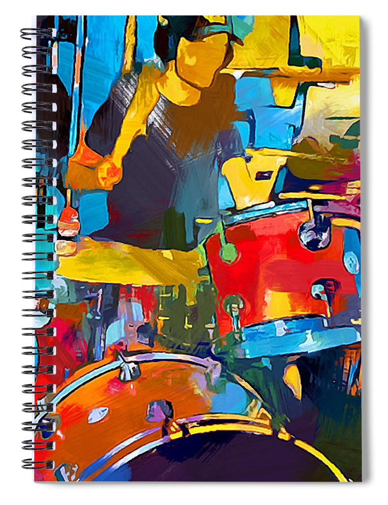 Drummer Spiral Notebook featuring the painting Drummer by Chris Butler
