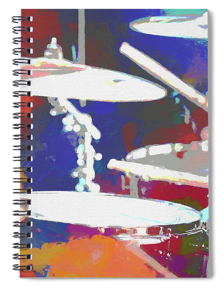 Colorful Drum Set Spiral Notebook featuring the mixed media Drummer by Dan Sproul