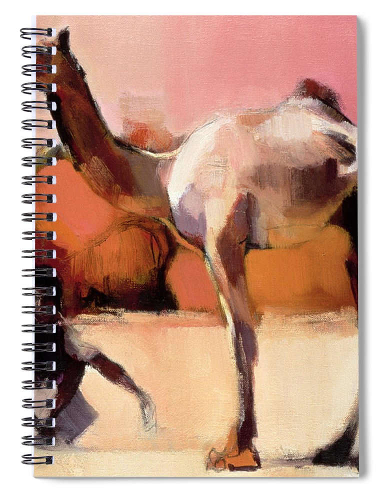 West-central India And Southern Pakistan;dromedary; One-humped Camel; Hump; Camelus Dromedarius; Kachchh; Cutch; Kachh; Man' Male Spiral Notebook featuring the painting dsu and Said - Rann of Kutch by Mark Adlington