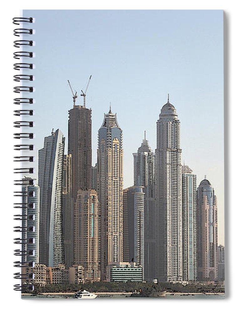 City Spiral Notebook featuring the digital art Dubai City Skyline by Sandeep Gangadharan
