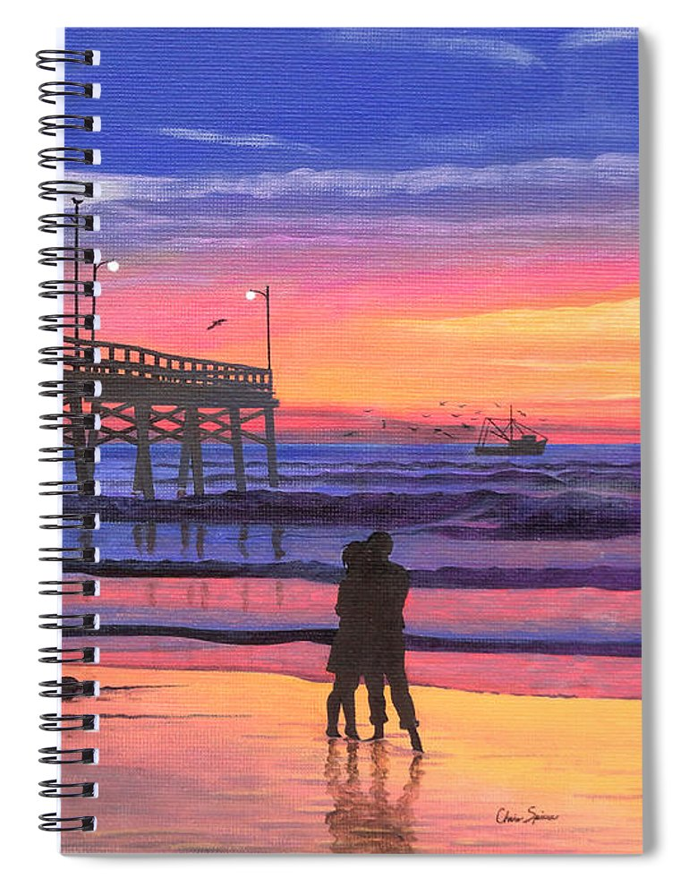 Dusk At The Pier Spiral Notebook featuring the painting Dusk At The Pier by Christopher Spicer