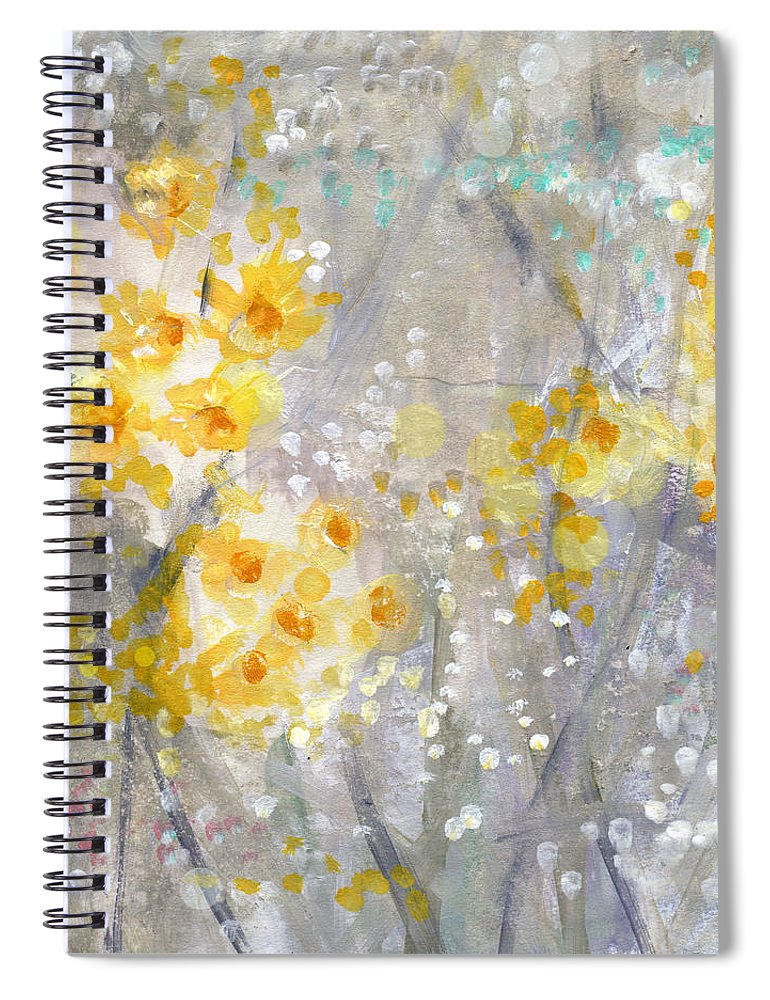 Flower Painting Spiral Notebook featuring the painting Dusty Miller- Abstract Floral Painting by Linda Woods