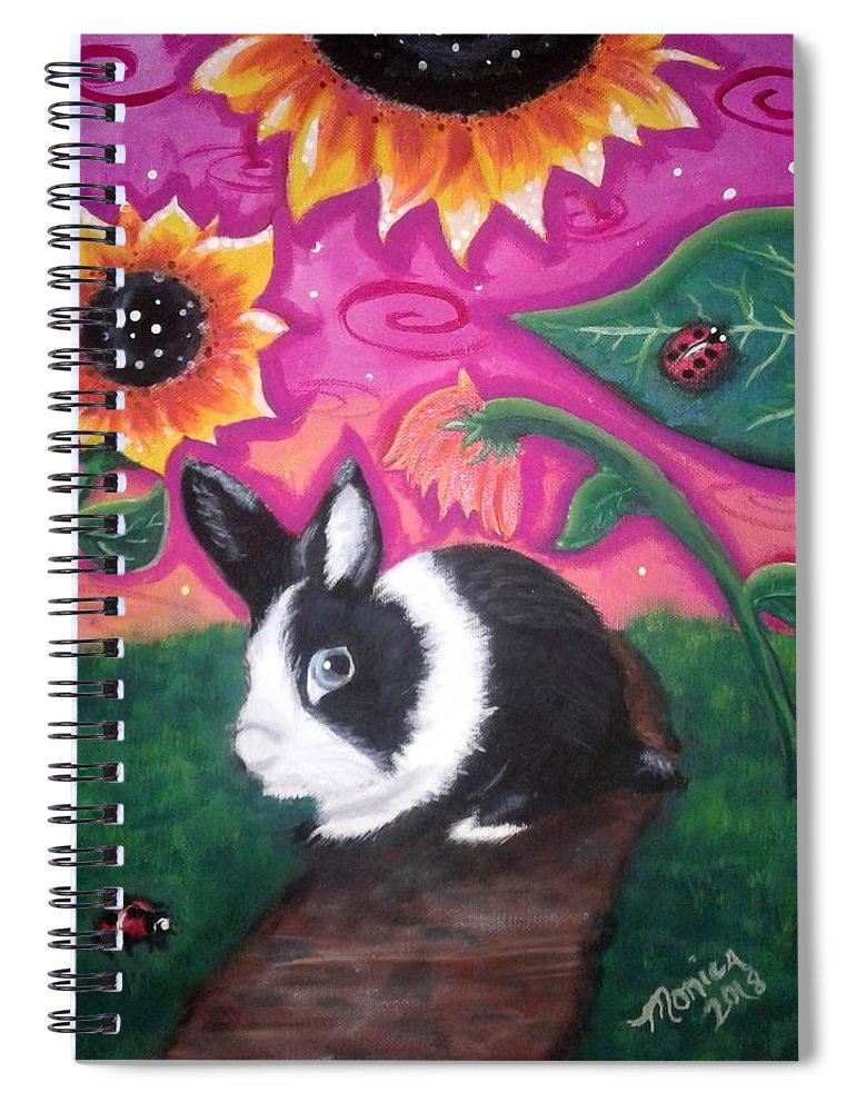 Dutch Bunny Spiral Notebook featuring the painting Dutch Bunny At Dusk by Monica Resinger