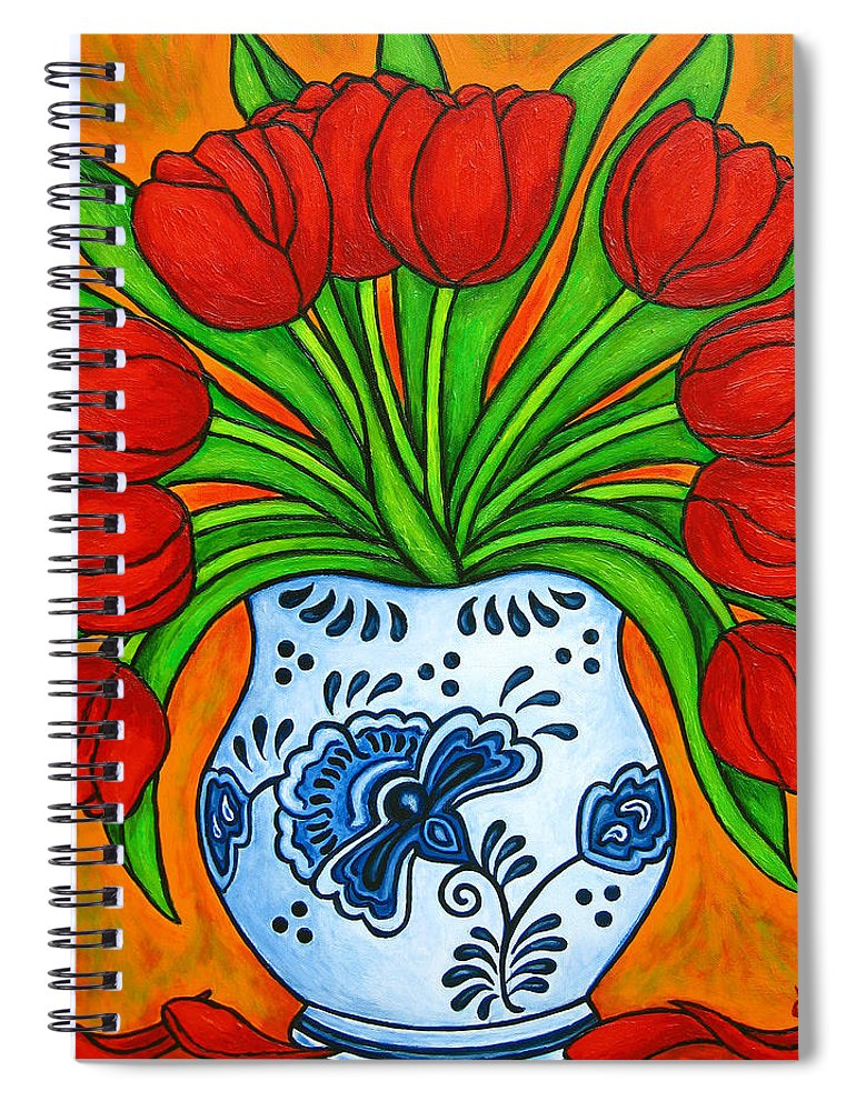 White Spiral Notebook featuring the painting Dutch Delight by Lisa Lorenz