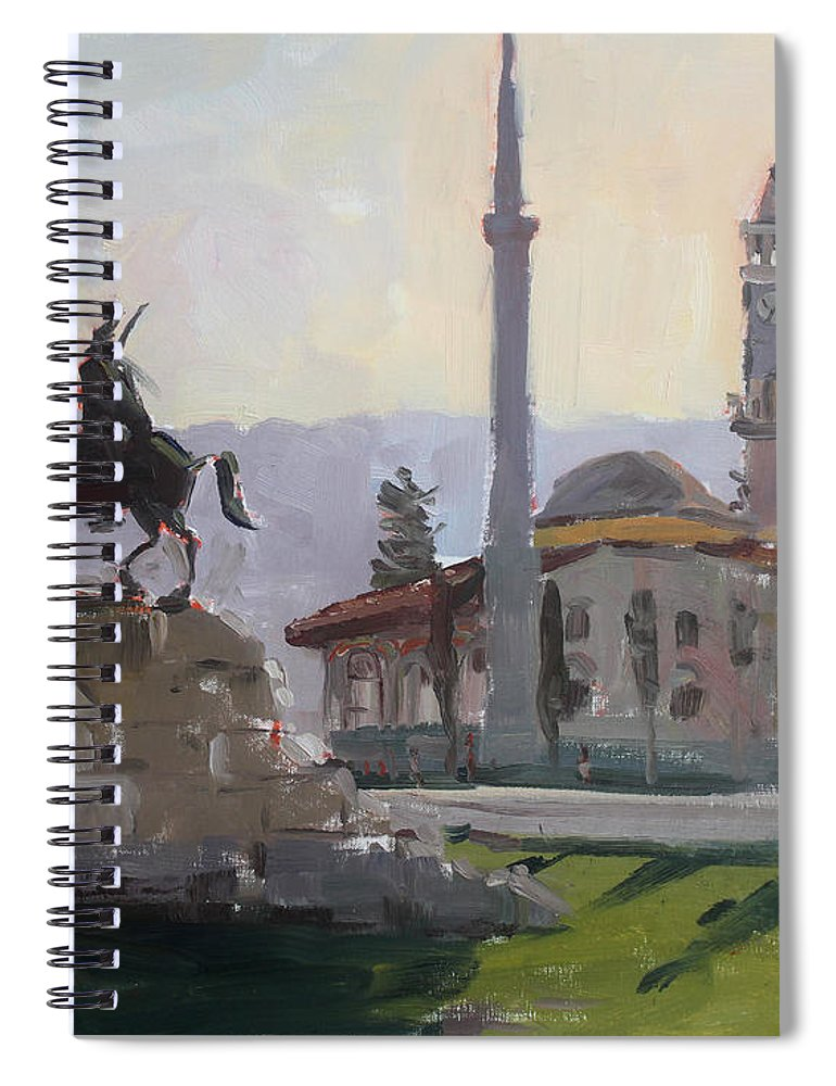 Tirana Spiral Notebook featuring the painting Early Morning In Tirana by Ylli Haruni