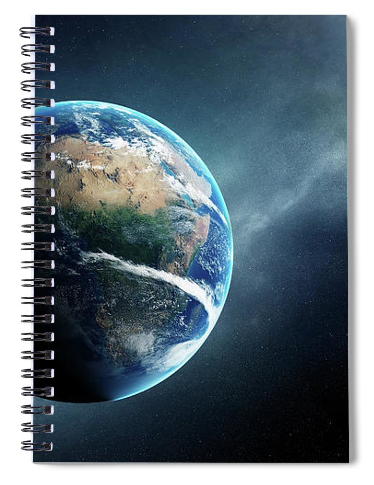 Earth Spiral Notebook featuring the digital art Earth And Moon Space View by Johan Swanepoel