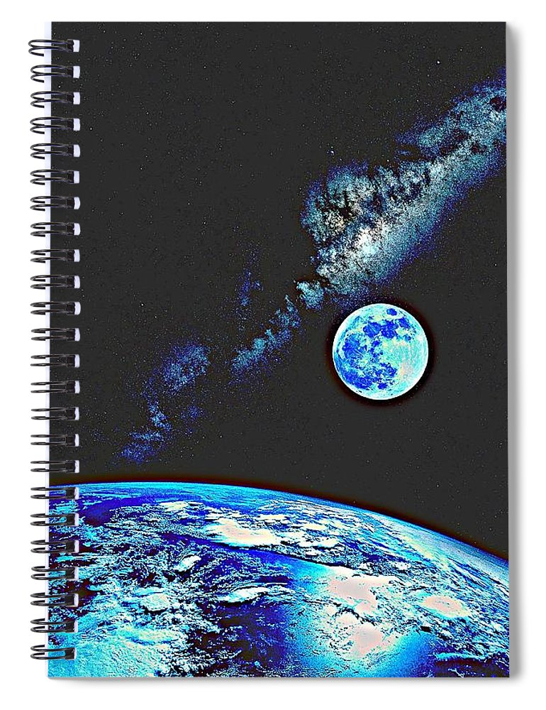 Earth Spiral Notebook featuring the painting Earth, Moon And Milkyway By Adam Asar 2 by Adam Asar