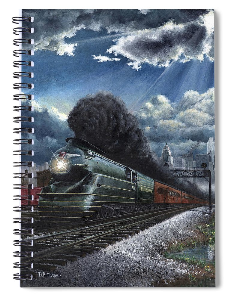 Train Spiral Notebook featuring the painting Eastbound Broadway Limited by David Mittner