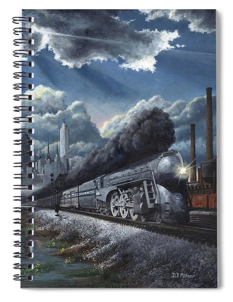 Train Spiral Notebook featuring the painting Eastbound Twentieth Century Limited by David Mittner
