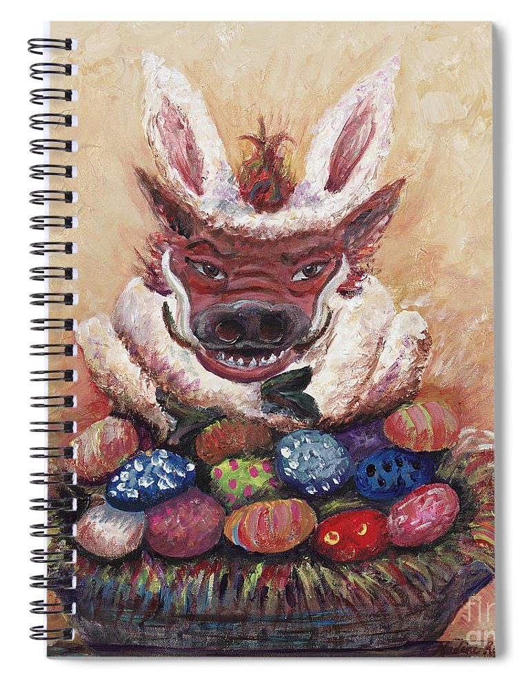 Easter Spiral Notebook featuring the painting Easter Hog by Nadine Rippelmeyer