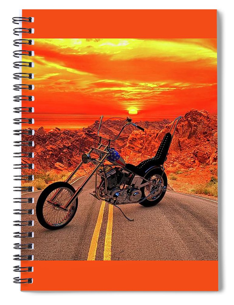 Easy Rider Chopper # Easy Rider # Chopper #sunset # Motorcycle #colorful #chopper # Render # Custom Chopper # Motorcycle Art # Usa # Reflections #florida #harley-davidson #american #c4d 3d Model #3d Rendering #photorealistic #custom Motorcycle #bobber #visualization # Easy Rider #chopper Spiral Notebook featuring the photograph Easy rider chopper by Louis Ferreira