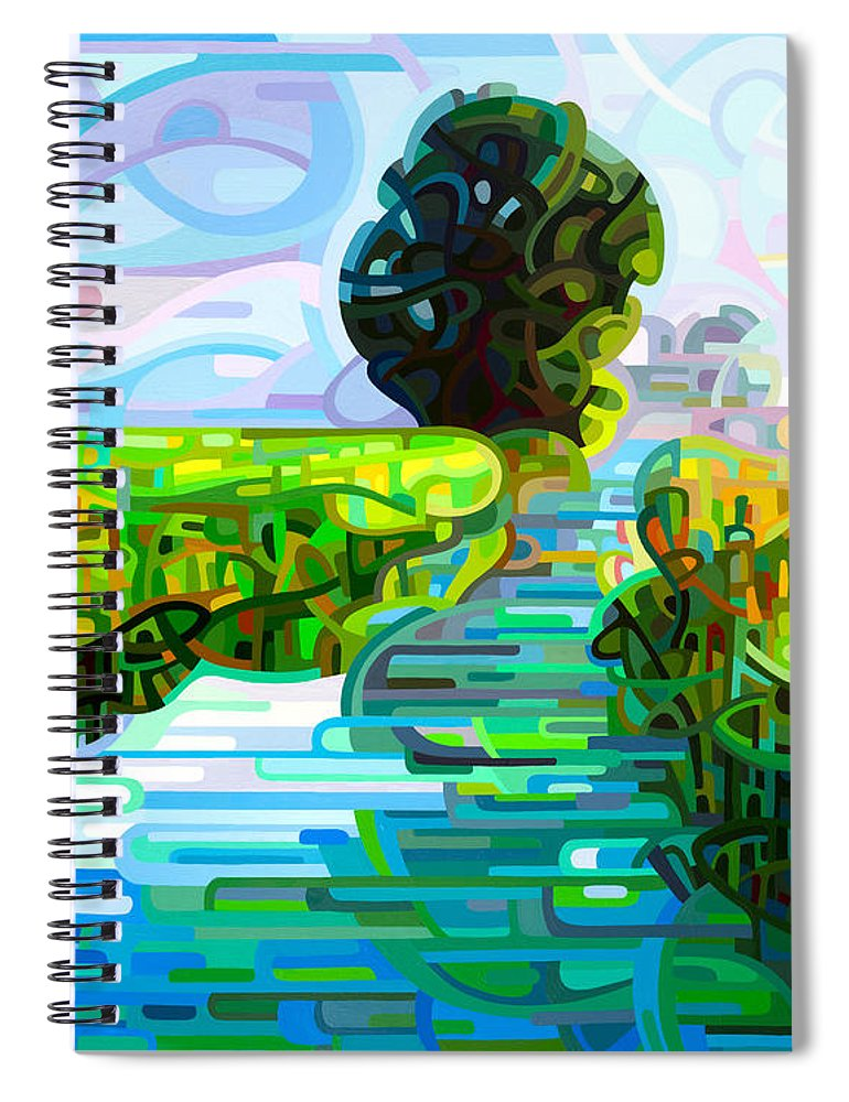 Abstract Spiral Notebook featuring the painting Ebb And Flow by Mandy Budan