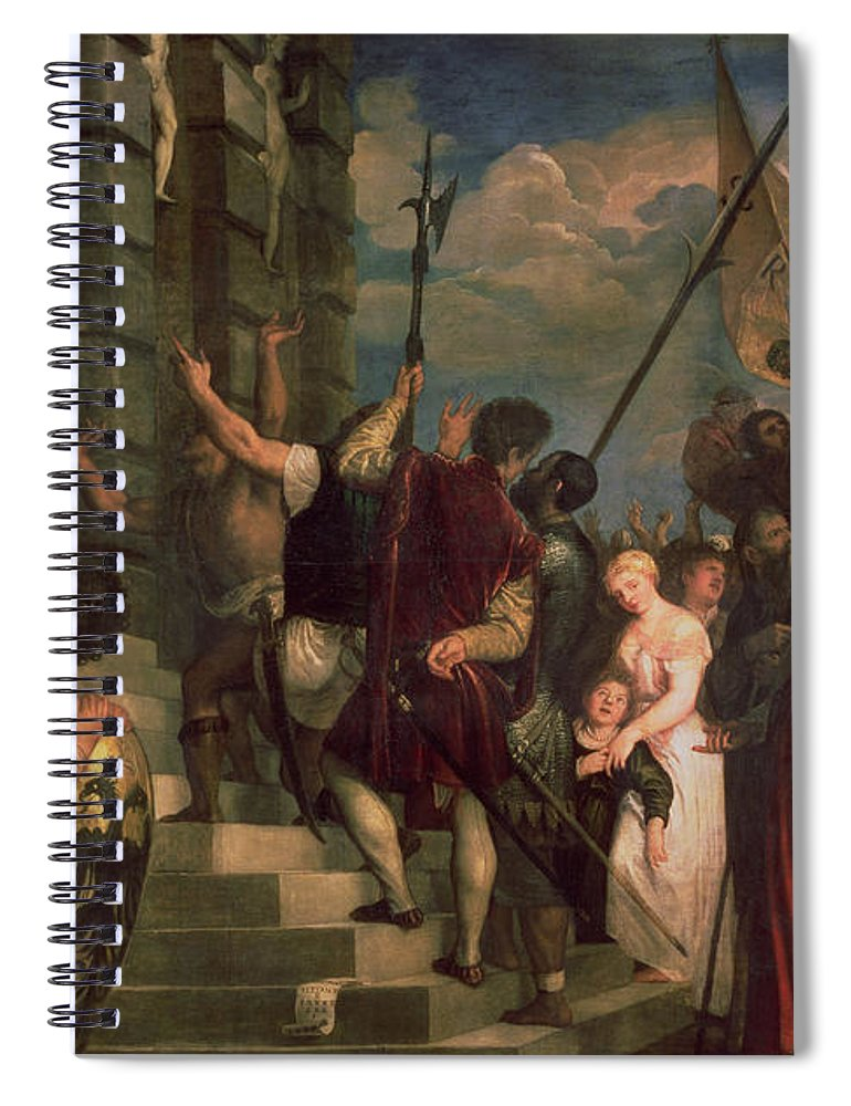 Titian Spiral Notebook featuring the painting Ecce Homo, 1543 by Titian