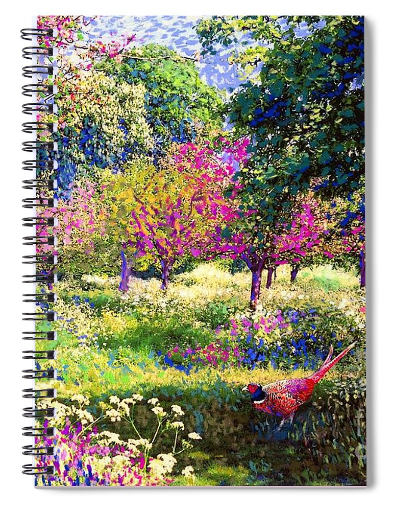 Wildflower Spiral Notebook featuring the painting Echoes From Heaven, Spring Orchard Blossom And Pheasant by Jane Small