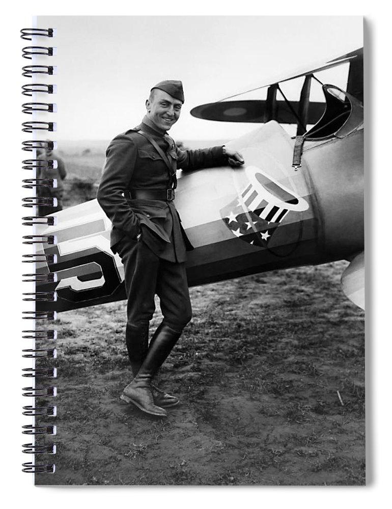 Eddie Rickenbacker Spiral Notebook featuring the photograph Eddie Rickenbacker - Ww1 American Air Ace by War Is Hell Store