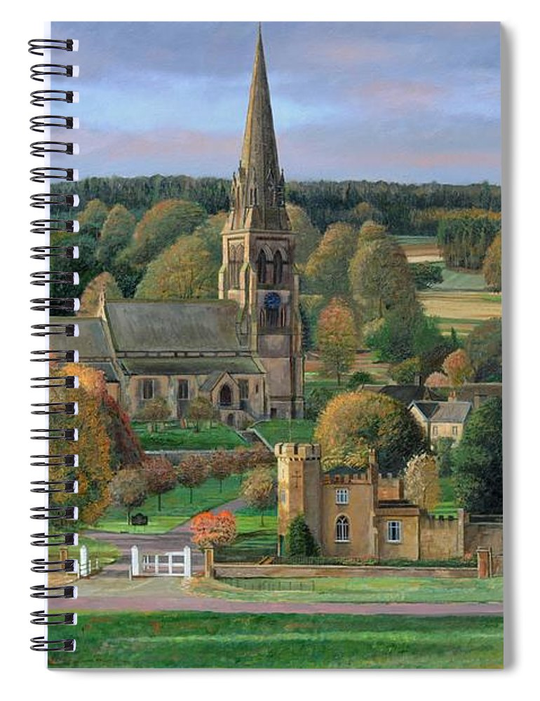 Peak District; Pig; Countryside; English Landscape; Architecture; Church; Village; Estate; Landscape; Chatsworth; Edensor; Chatsworth Park; Tree; Trees; Man Sitting On Bench Spiral Notebook featuring the painting Edensor - Chatsworth Park - Derbyshire by Trevor Neal