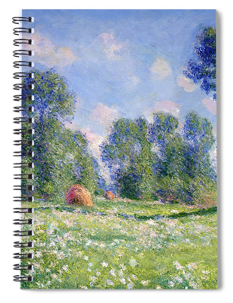Effect Of Spring Spiral Notebook featuring the painting Effect Of Spring At Giverny by Claude Monet