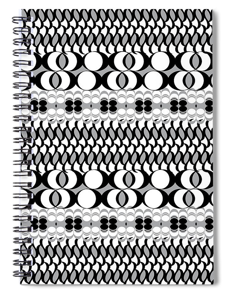 Black And White Pattern Spiral Notebook featuring the digital art Egg Basket by Ceil Diskin