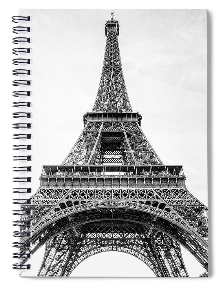 Eiffel Tower Spiral Notebook featuring the photograph Eiffel Tower Black And White by Robert Hayton