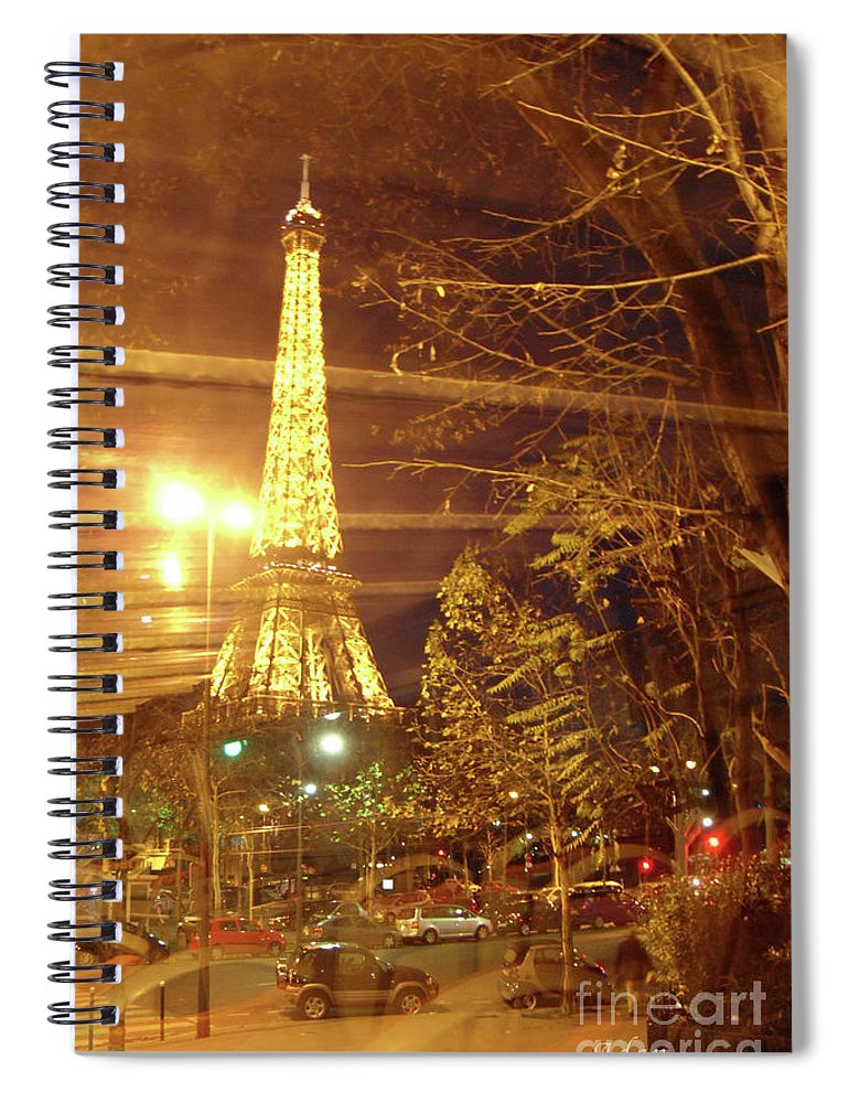 Paris Spiral Notebook featuring the photograph Eiffel Tower by Bus Tour by Felipe Adan Lerma