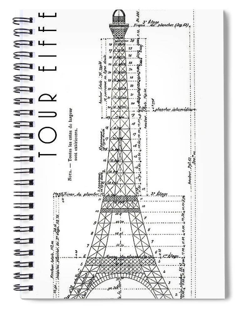 Eiffel Tower Engineering Drawing 1886 Spiral Notebook for