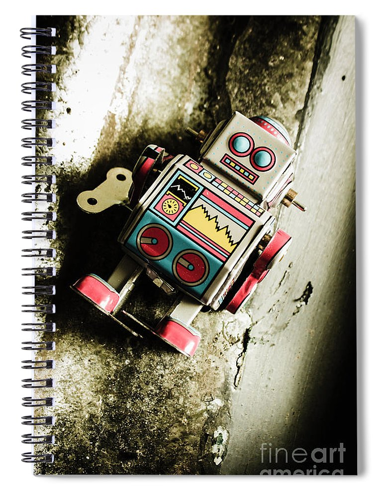 Grunge Spiral Notebook featuring the photograph Eighties Cybernetic Droid by Jorgo Photography - Wall Art Gallery