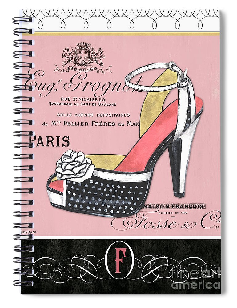 Fashion Spiral Notebook featuring the painting Elegant French Shoes 2 by Debbie DeWitt