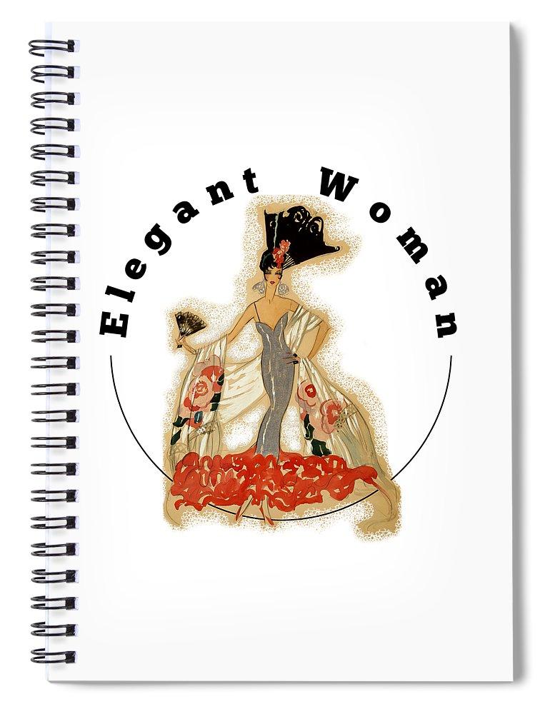 Robert Kernodle Vintage Women Fashions Spiral Notebook featuring the digital art Elegant Woman by Robert G Kernodle