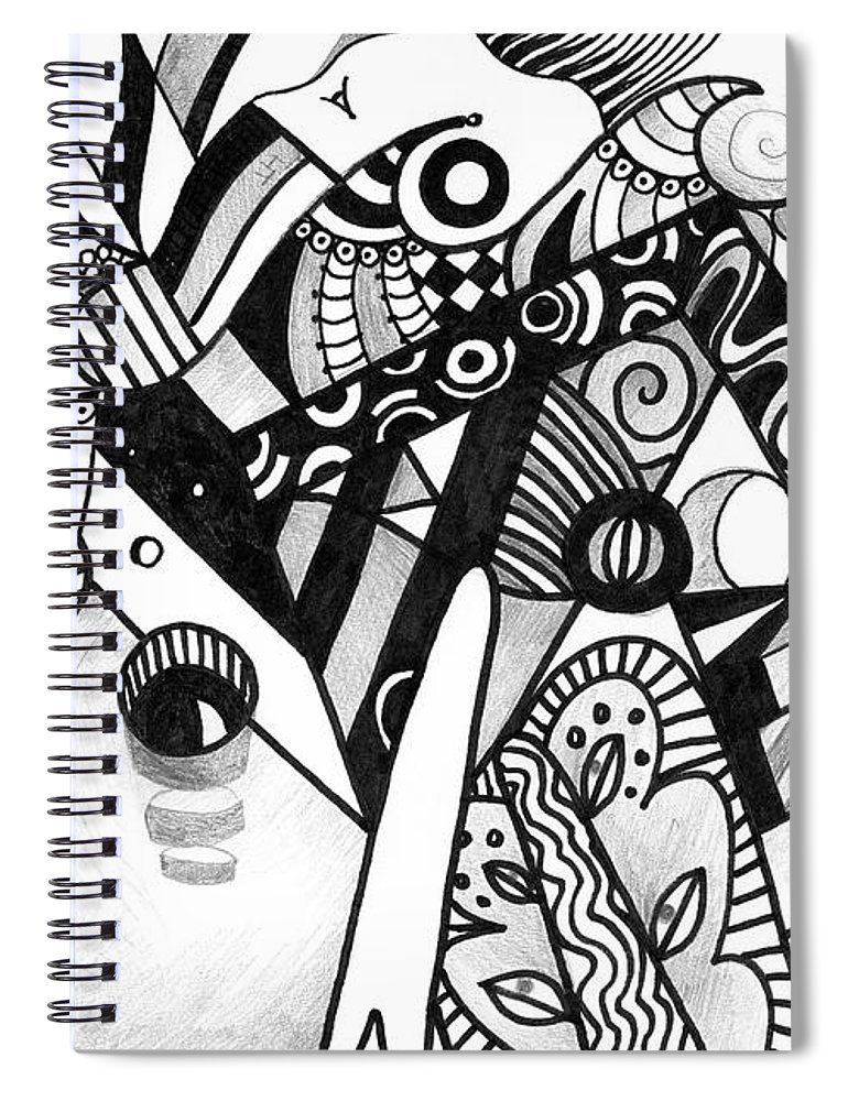 Abstract Spiral Notebook featuring the drawing Elements At Play by Helena Tiainen