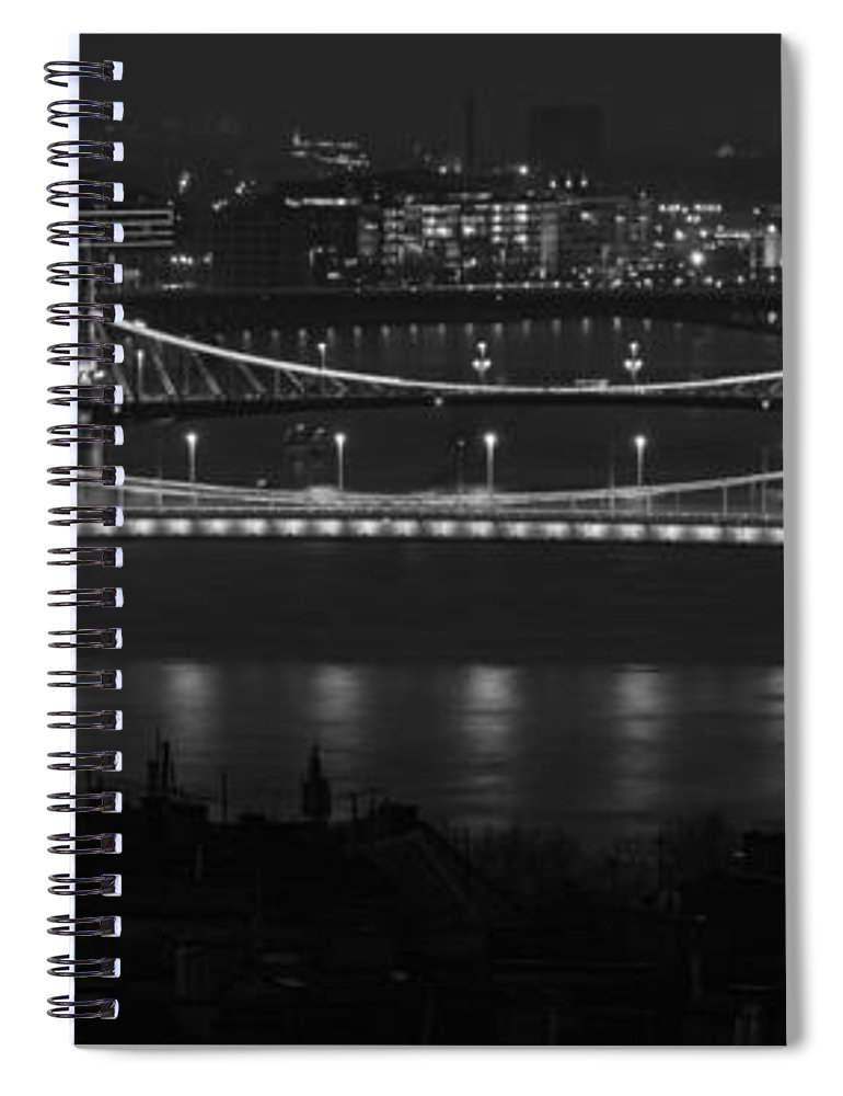 Joan Carroll Spiral Notebook featuring the photograph Elizabeth And Liberty Bridges Budapest Bw by Joan Carroll