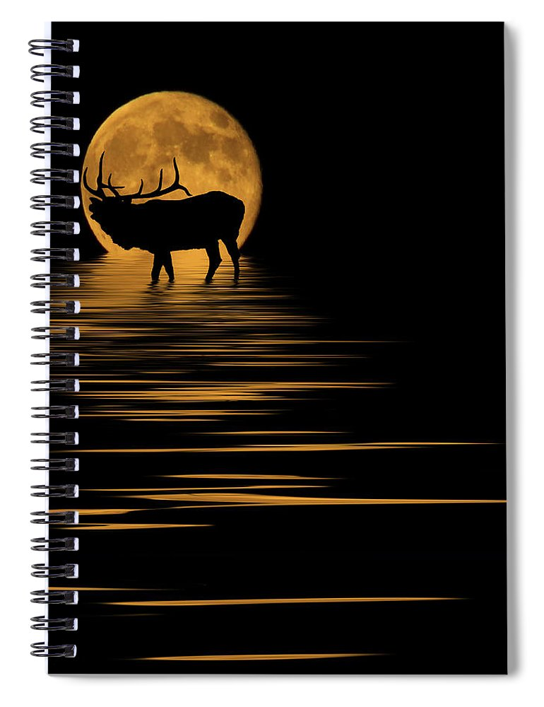 Bugle Spiral Notebook featuring the photograph Elk In The Moonlight by Shane Bechler