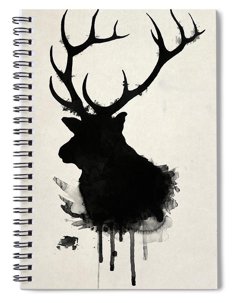 Elk Spiral Notebook featuring the drawing Elk by Nicklas Gustafsson