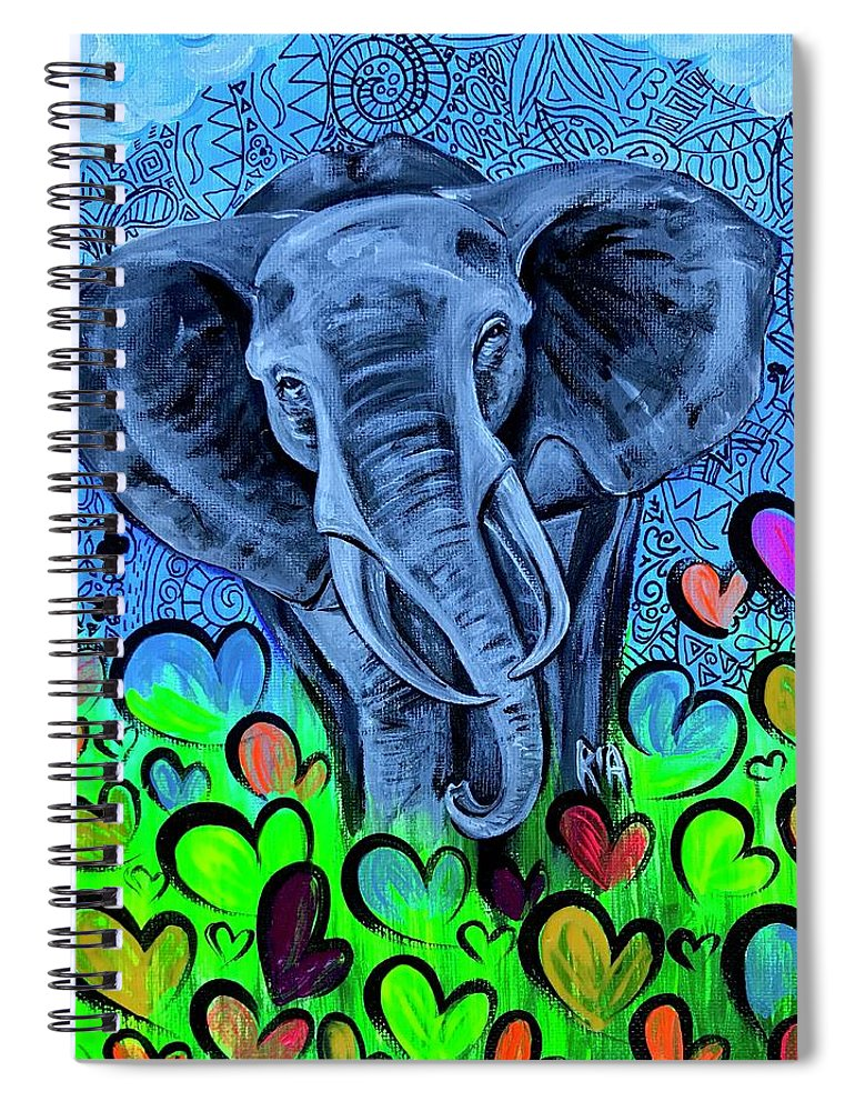 Elephant Spiral Notebook featuring the painting Elley by Artist RiA