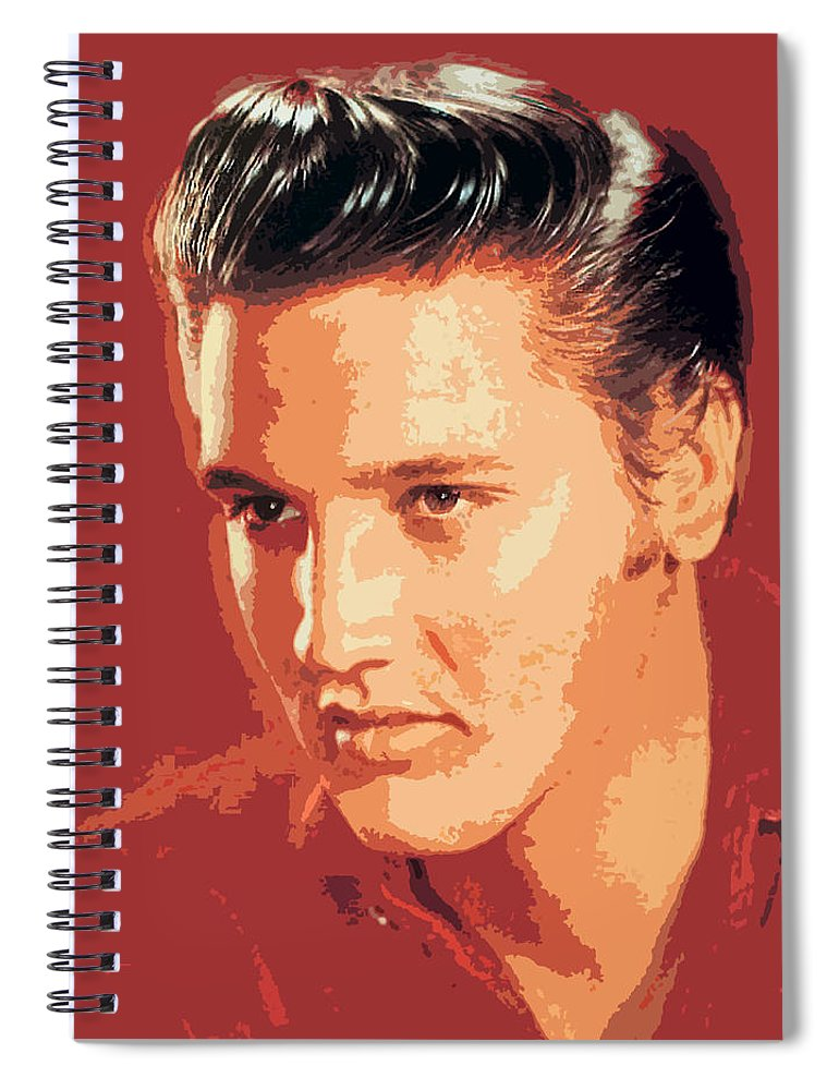 Elvis Presley Spiral Notebook featuring the painting Elvis Presley - The King by David Lloyd Glover