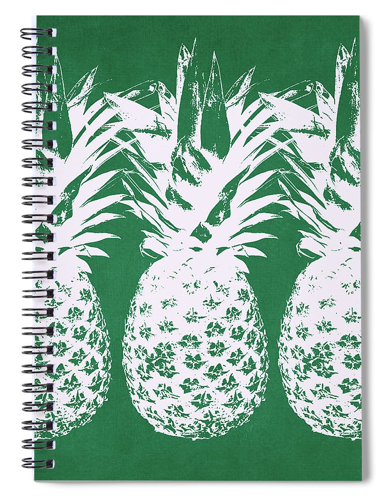Pineapple Spiral Notebook featuring the mixed media Emerald Pineapples- Art by Linda Woods by Linda Woods