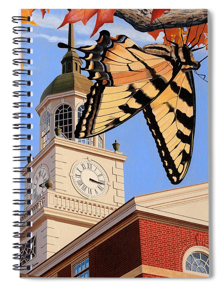 Emergence Of The Butterfly Spiral Notebook featuring the painting Emergence Of The Butterfly by Christopher Spicer