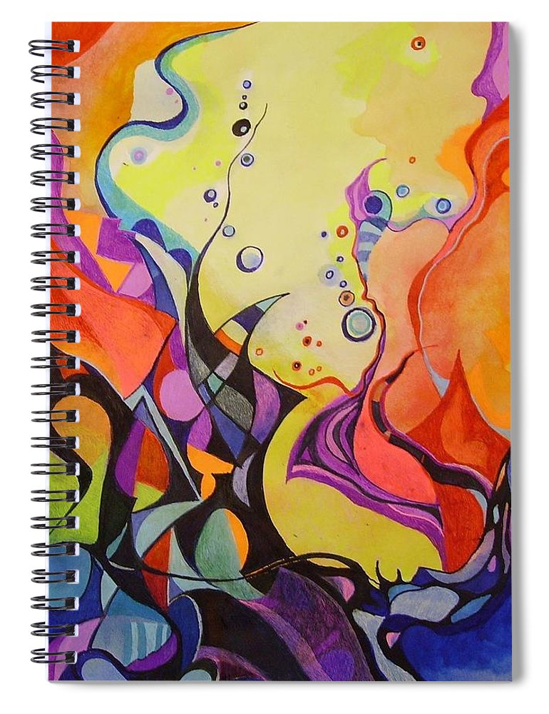 Watercolors Pens Paper Abstract Spiral Notebook featuring the painting Emergence by Wolfgang Schweizer