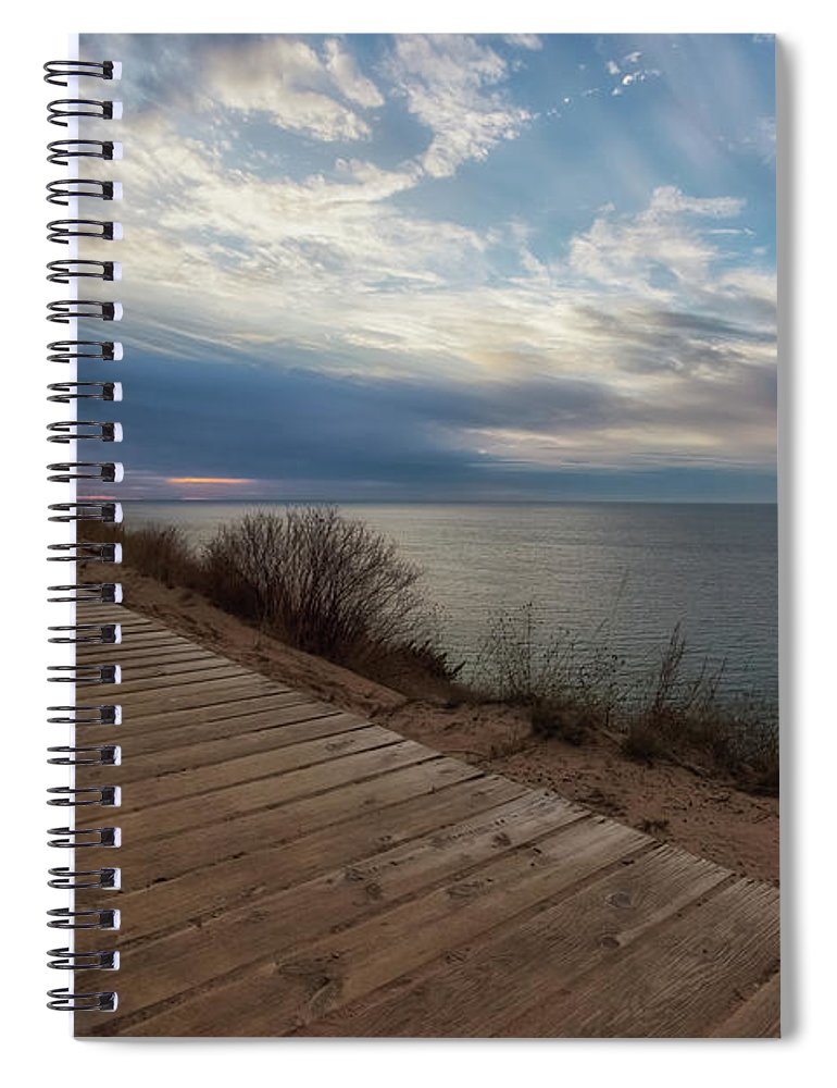 Empire Spiral Notebook featuring the photograph Empire Bluffs 2 by Heather Kenward