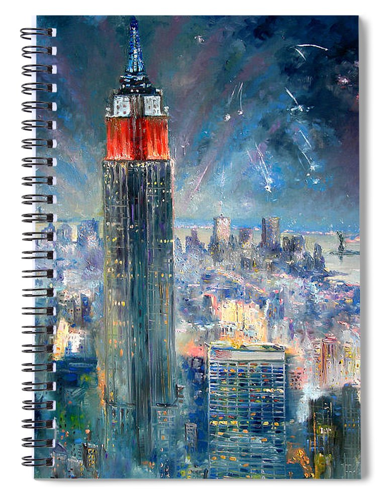 Empire State Building Spiral Notebook featuring the painting Empire State Building In 4th Of July by Ylli Haruni
