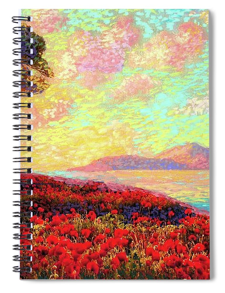 Wildflower Spiral Notebook featuring the painting Enchanted By Poppies by Jane Small