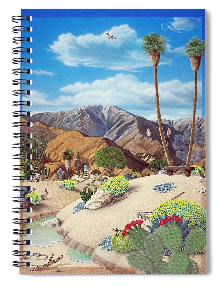 Desert Spiral Notebook featuring the painting Enchanted Desert by Snake Jagger