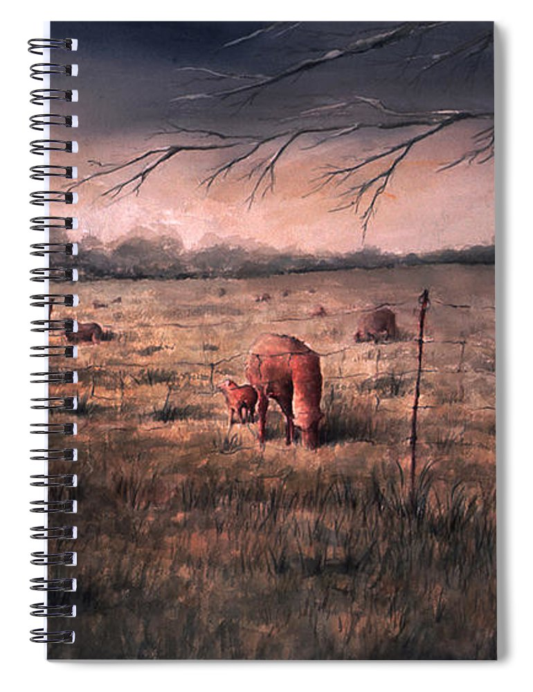 Landscape Spiral Notebook featuring the painting A childhood by William Russell Nowicki
