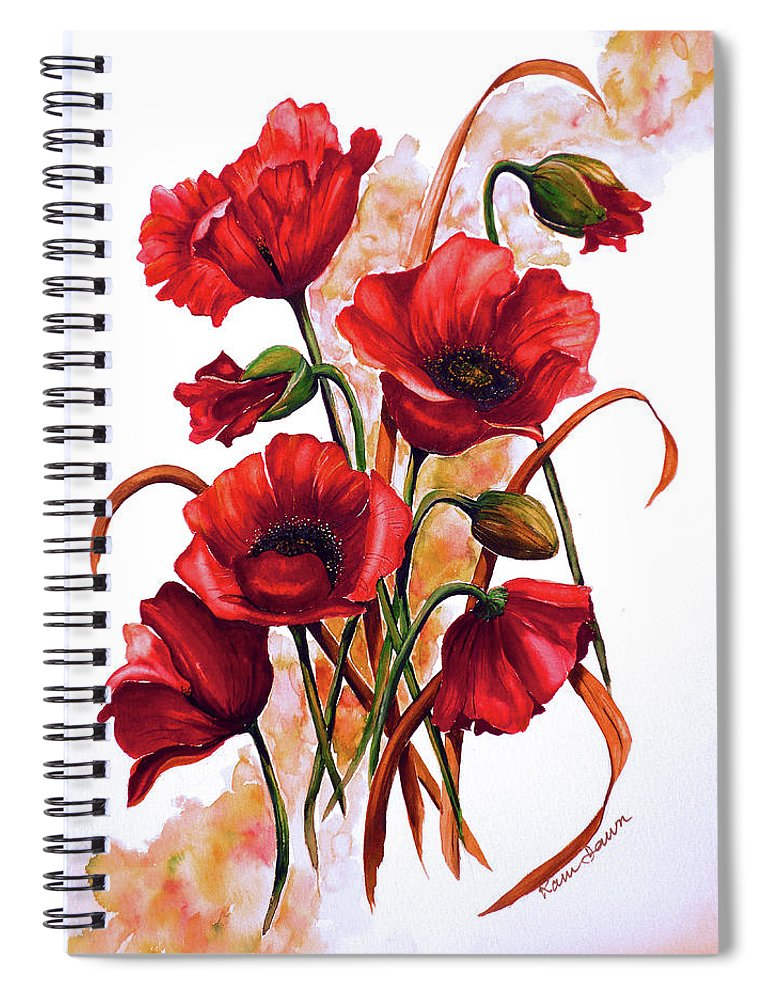 Red Poppies Paintings Floral Paintings Botanical Paintings Flower Paintings Poppy Paintings Field Poppy Painting Greeting Card Paintings Poster Print Painting Canvas Print Painting  Spiral Notebook featuring the painting English Poppies 2 by Karin Dawn Kelshall- Best